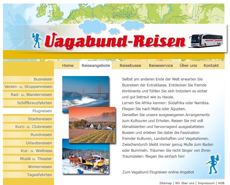 Vagabund-Reisen Flensburg Internetauftritt